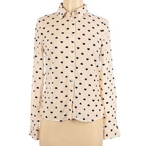 NWT S Button Up Hearts Collared Long Sleeve Blouse
